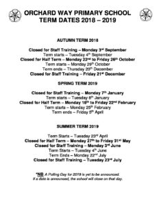 Term Dates 2018 - 2019 | Orchard Way Primary School